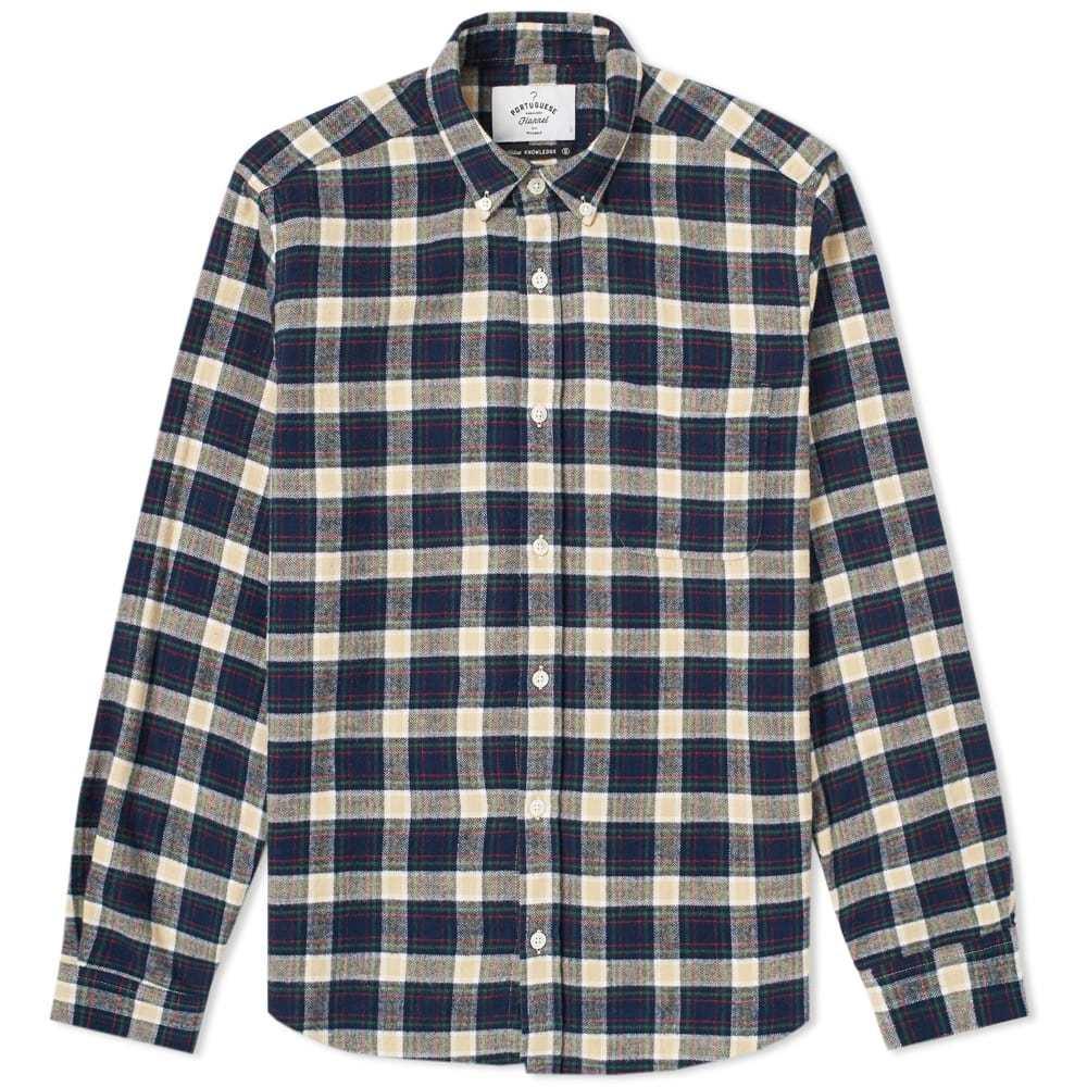 Photo: Portuguese Flannel River Button Down Check Shirt Blue