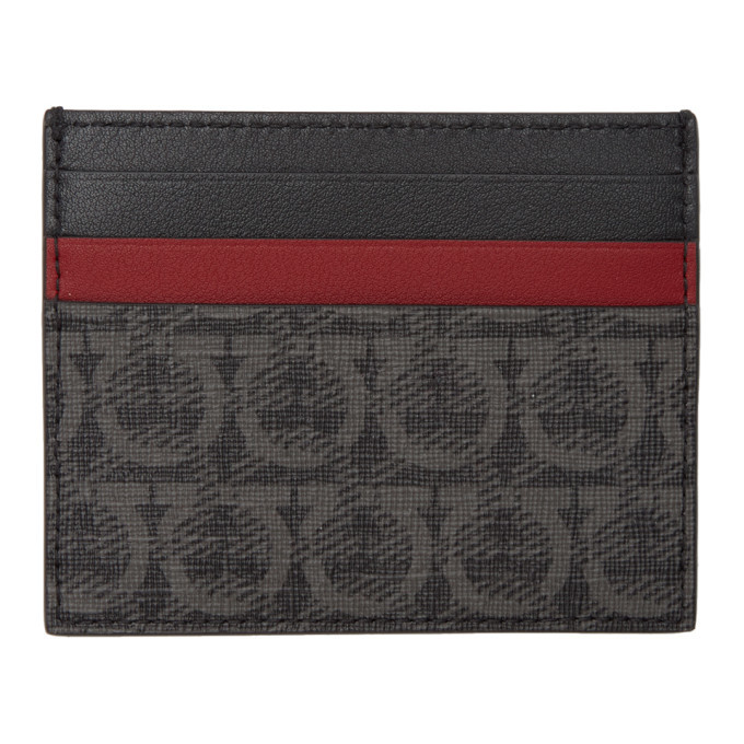 Photo: Salvatore Ferragamo Black and Grey Travel Card Holder