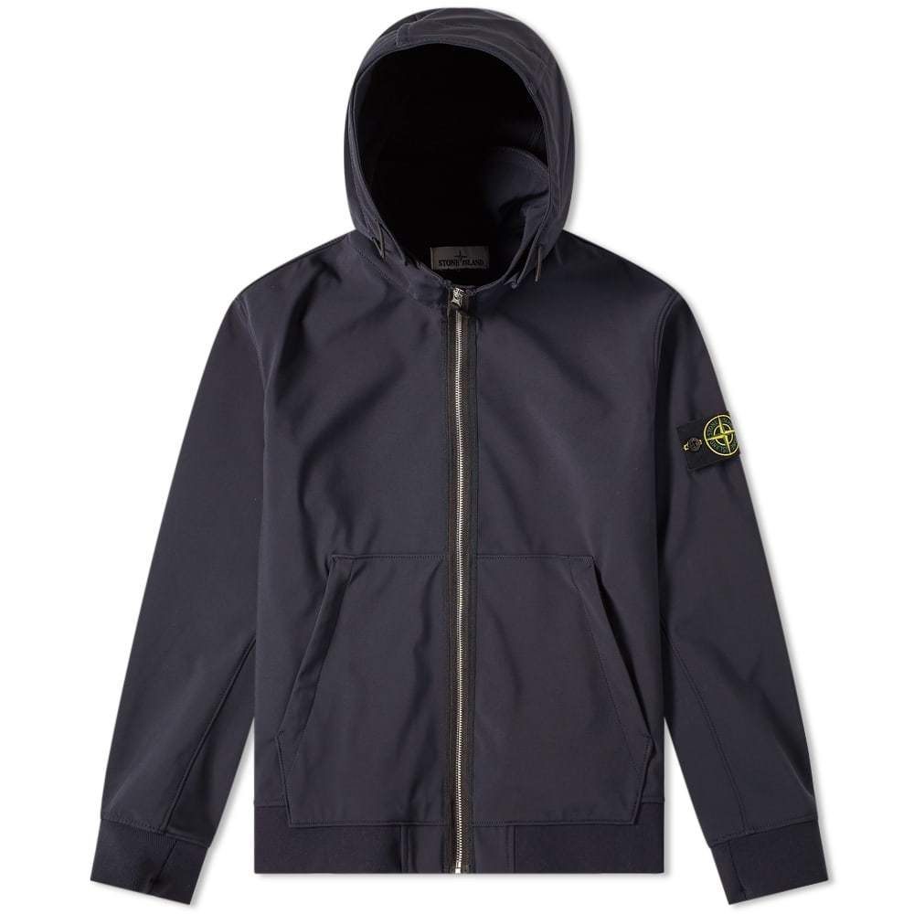 Photo: Stone Island Soft Shell R Fixed Hood Jacket Navy