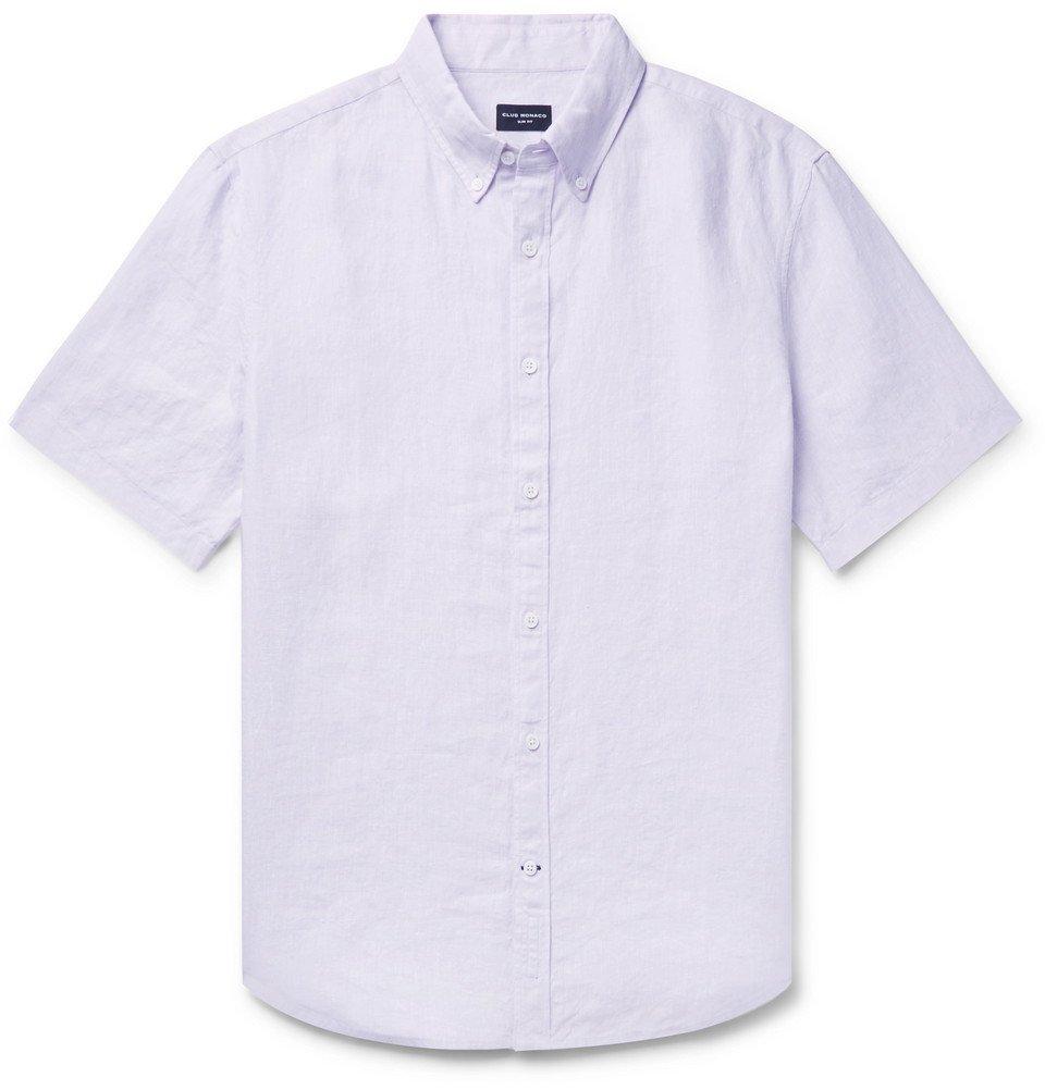 Photo: Club Monaco - Slim-Fit Button-Down Collar Slub Linen-Chambray Shirt - Lilac