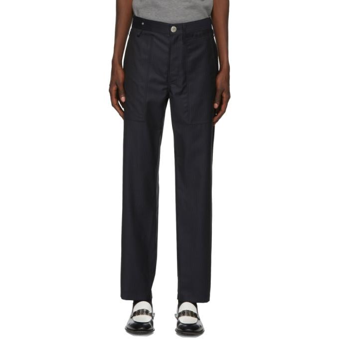 Photo: Lanvin Navy Wool Pinstripe Trousers