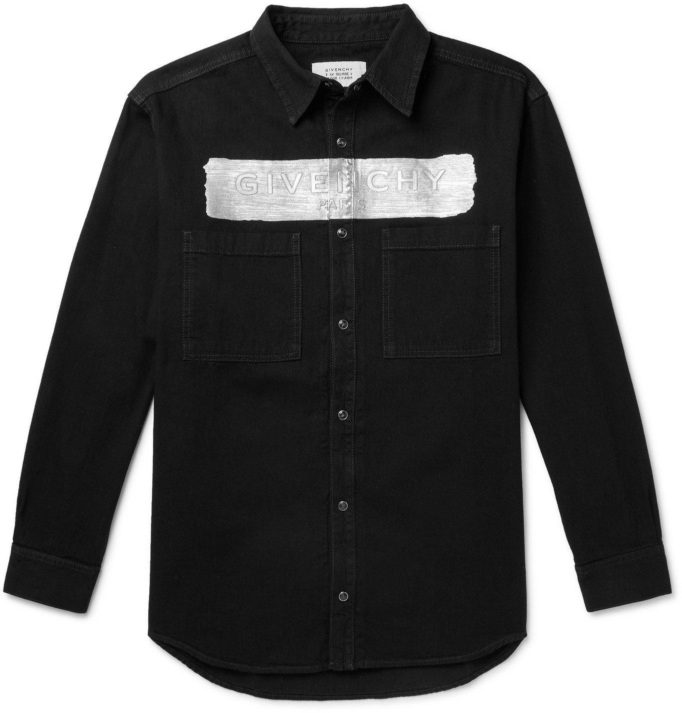 Photo: GIVENCHY - Metallic Logo-Embossed Denim Shirt - Black