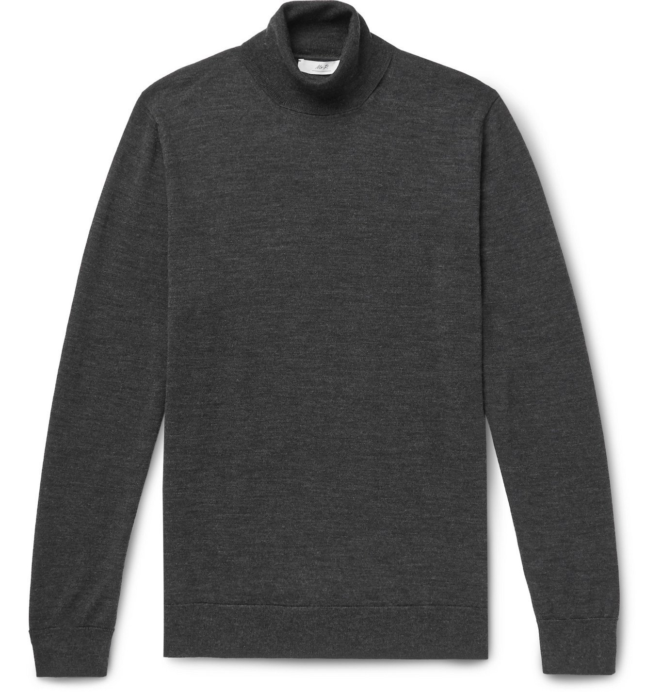 Photo: Mr P. - Slim-Fit Merino Wool Rollneck Sweater - Gray