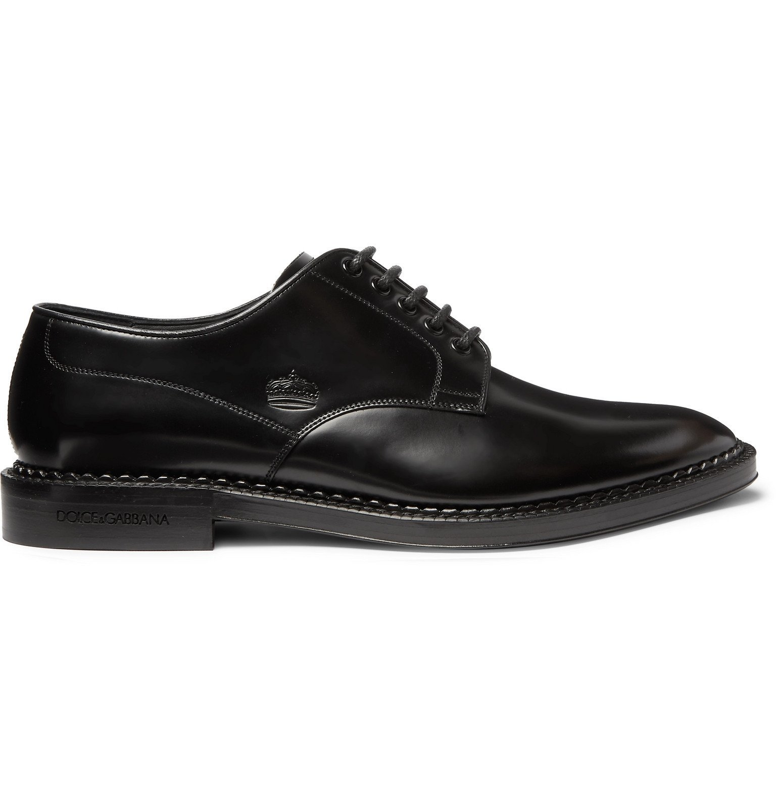 Dolce & Gabbana - Embossed Leather Derby Shoes - Black