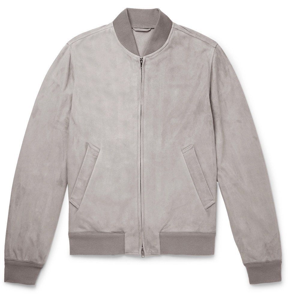 Photo: Valstar - Slim-Fit Unlined Suede Bomber Jacket - Gray