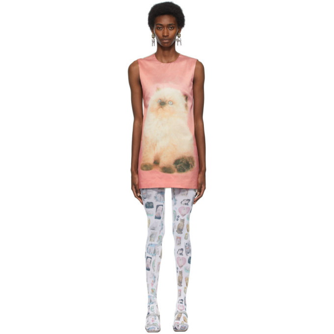 Photo: Ashley Williams Pink and Off-White Kitten A-Line Dress