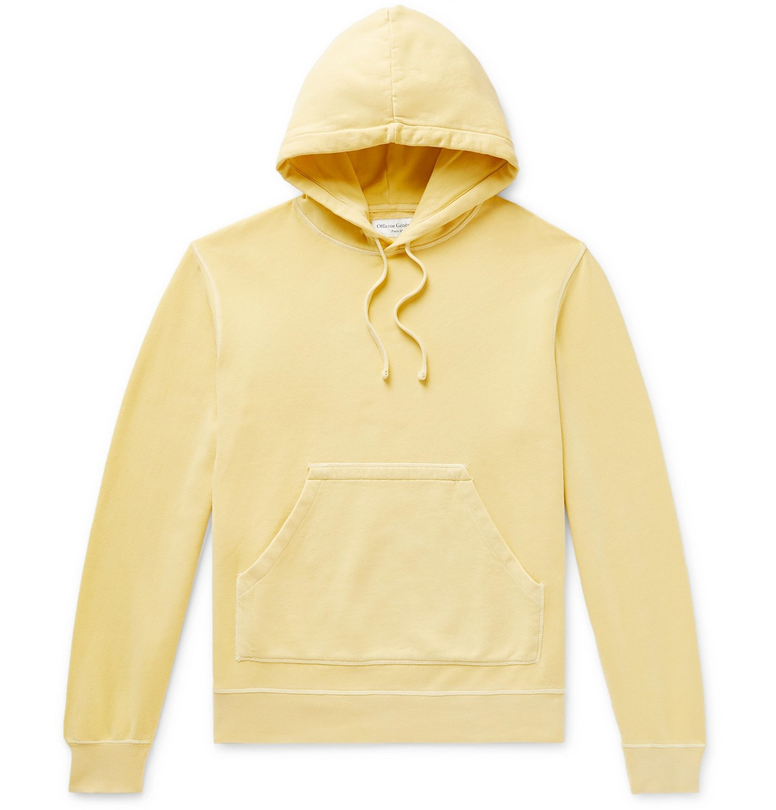 Photo: Officine Generale - Olivier Garment-Dyed Loopback Cotton-Jersey Hoodie - Yellow