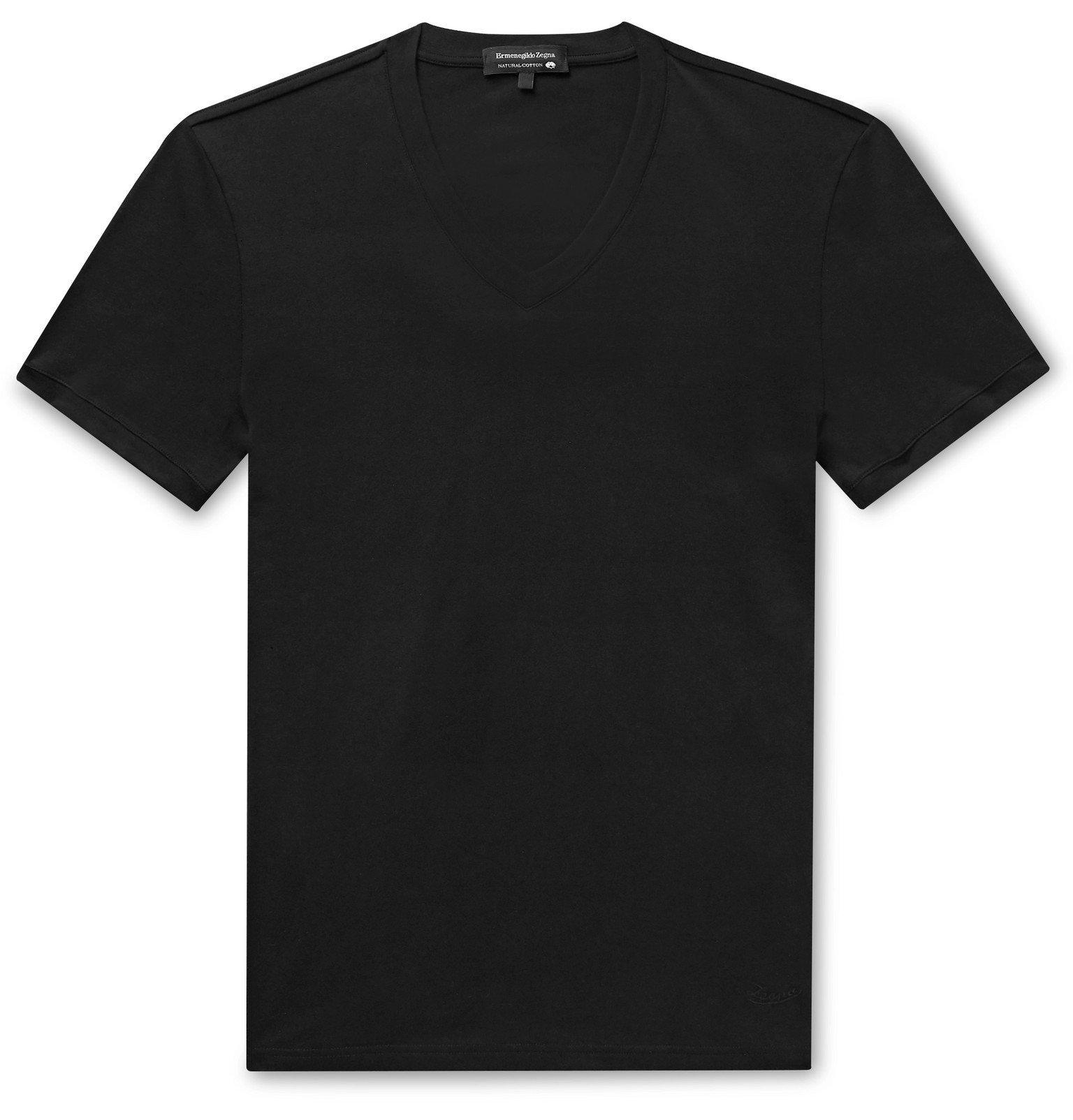 Photo: Ermenegildo Zegna - Stretch-Cotton Jersey T-Shirt - Black