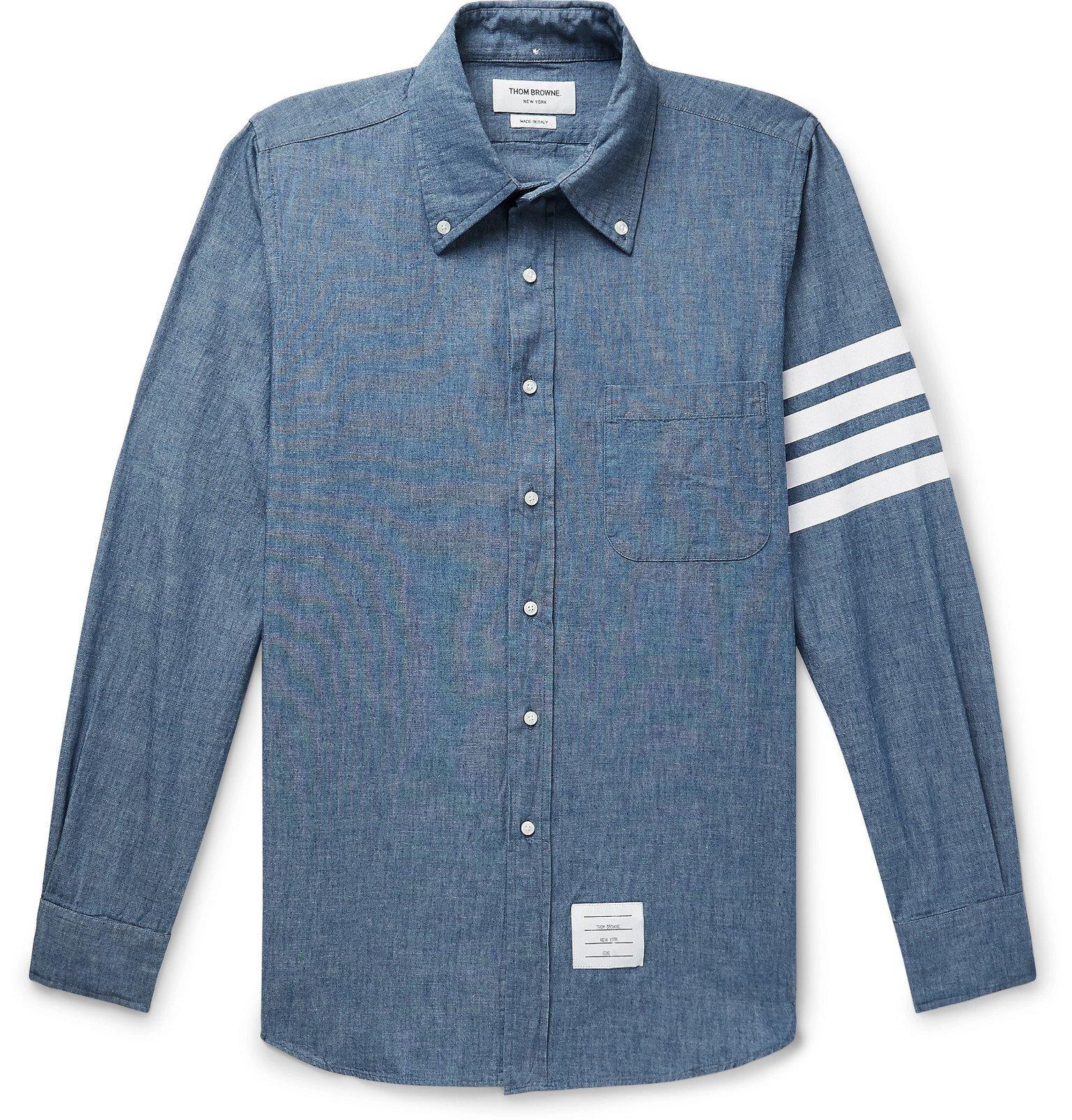Photo: Thom Browne - Button-Down Collar Striped Cotton-Chambray Shirt - Blue