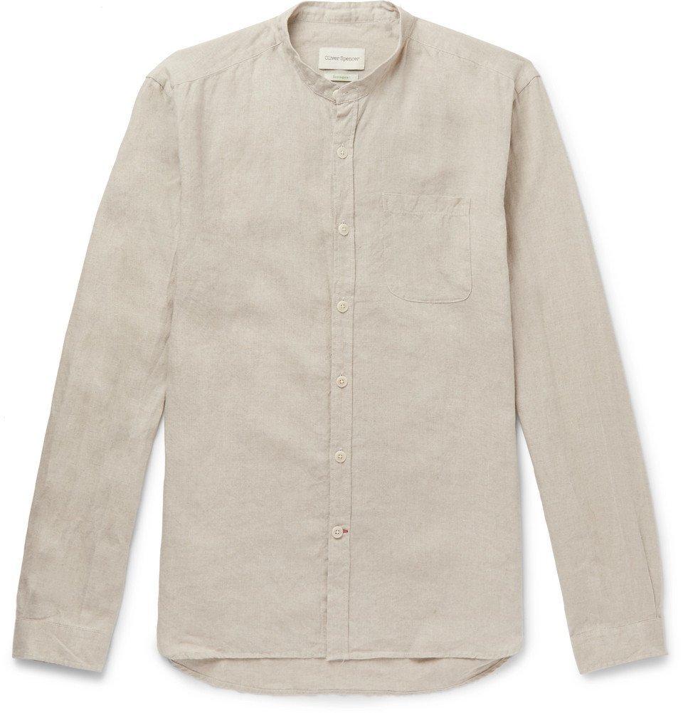 Photo: Oliver Spencer - Grandad-Collar Linen Shirt - Beige
