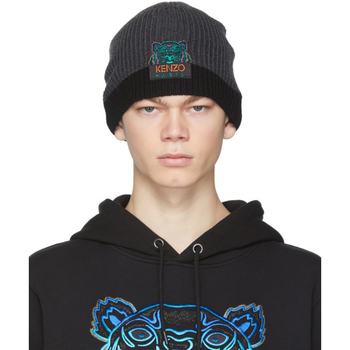 Photo: Kenzo Grey and Black Limited Edition Holiday Wool Two-Tone Tiger Beanie