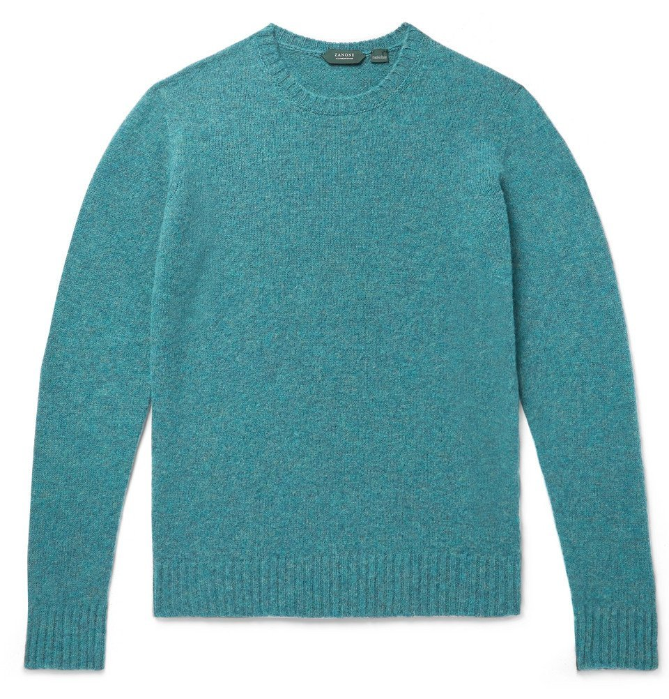 Photo: Incotex - Slim-Fit Mélange Brushed-Virgin Wool Sweater - Teal