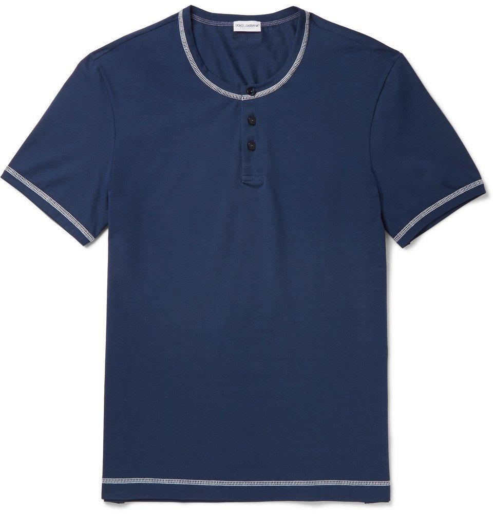 Photo: Dolce & Gabbana - Stretch-Cotton Jersey Henley T-Shirt - Men - Navy
