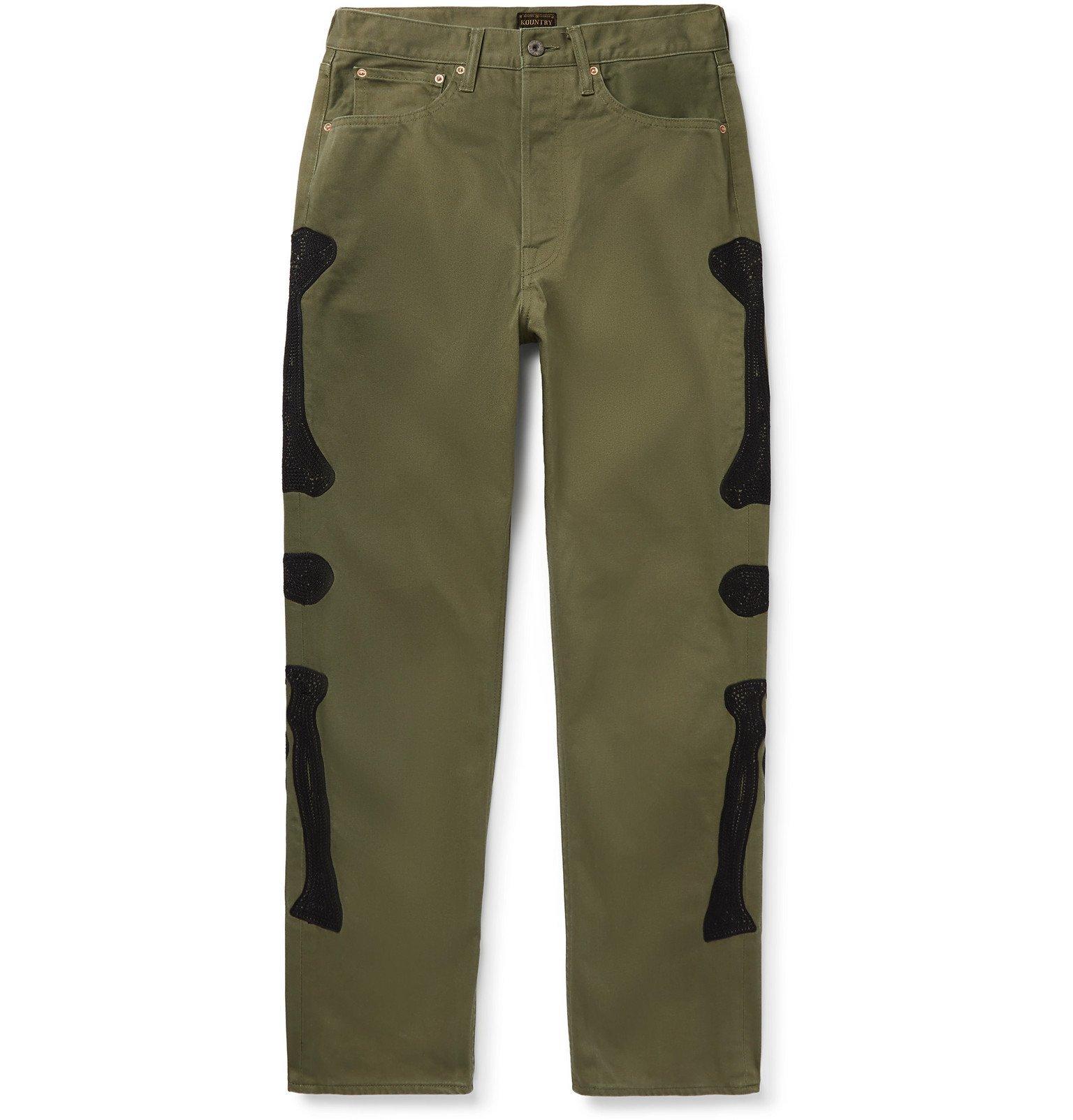KAPITAL - Okagilly Slim-Fit Appliquéd Denim Jeans - Green