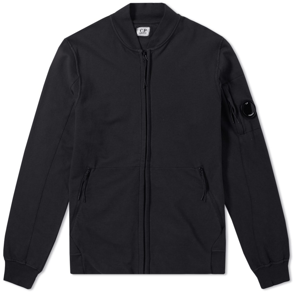 C.P. Company Garment Dyed Light Fleece Bomber Black