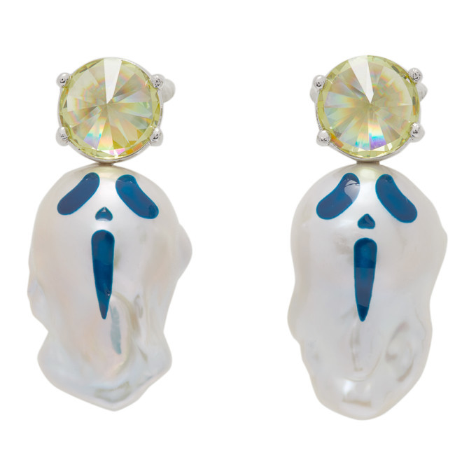 Jiwinaia SSENSE Exclusive Silver Urlo Spiky Baroque Earrings