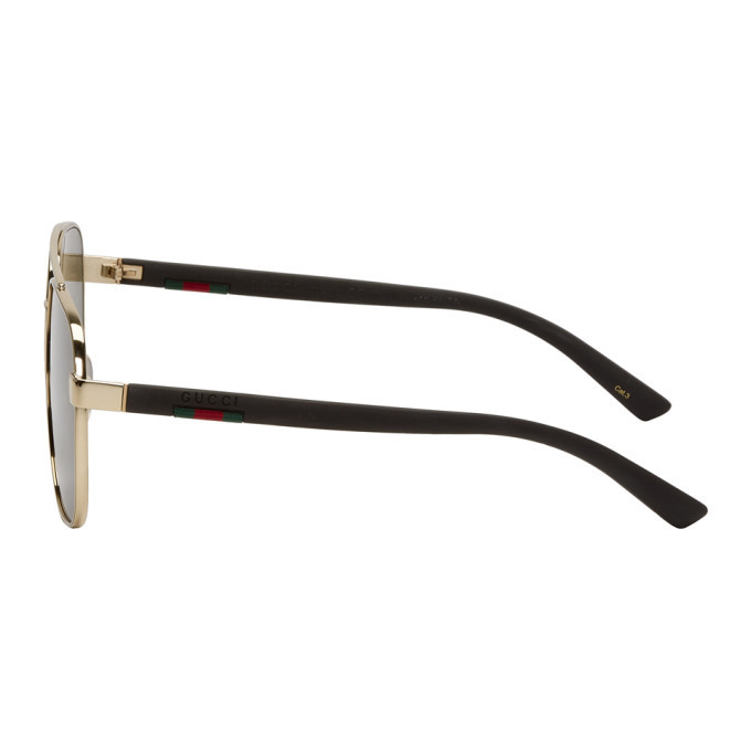 b3b22d723a3 Gucci Gold and Grey Caravan Sunglasses Gucci