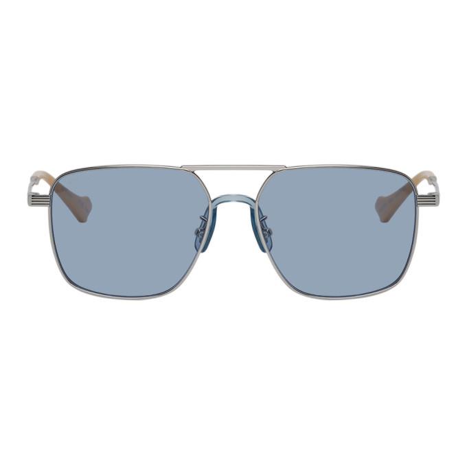 Photo: Gucci Silver and Blue Square Aviator Sunglasses