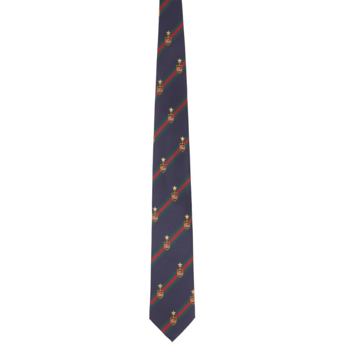 Photo: Gucci Navy Silk GG Web Crest Tie