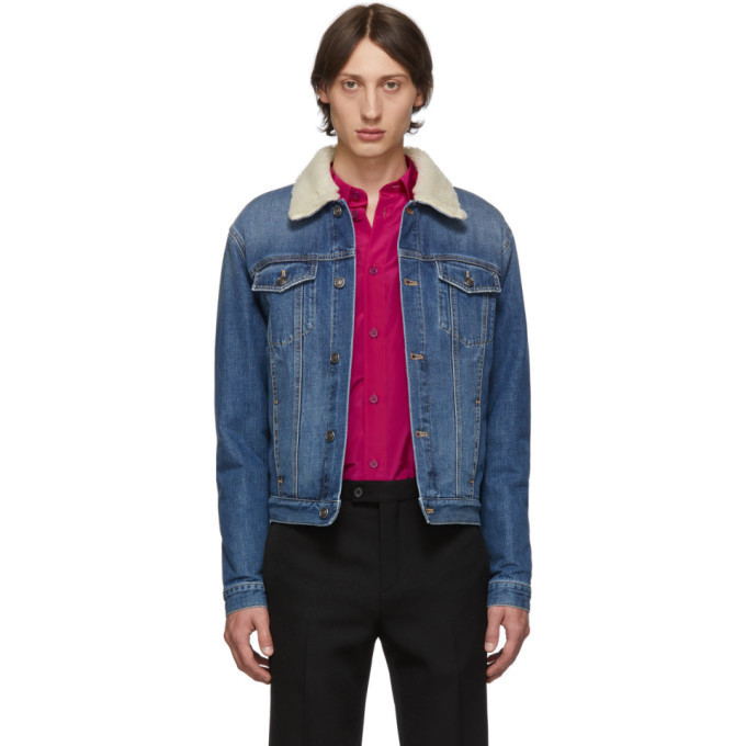 Photo: Givenchy Blue Denim Sherpa Jacket