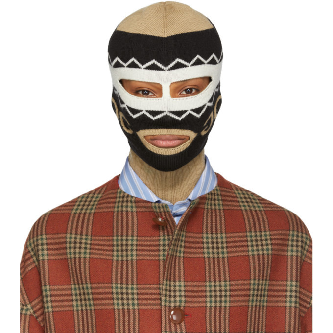 Photo: Gucci Black and Beige Mirrored GG Balaclava