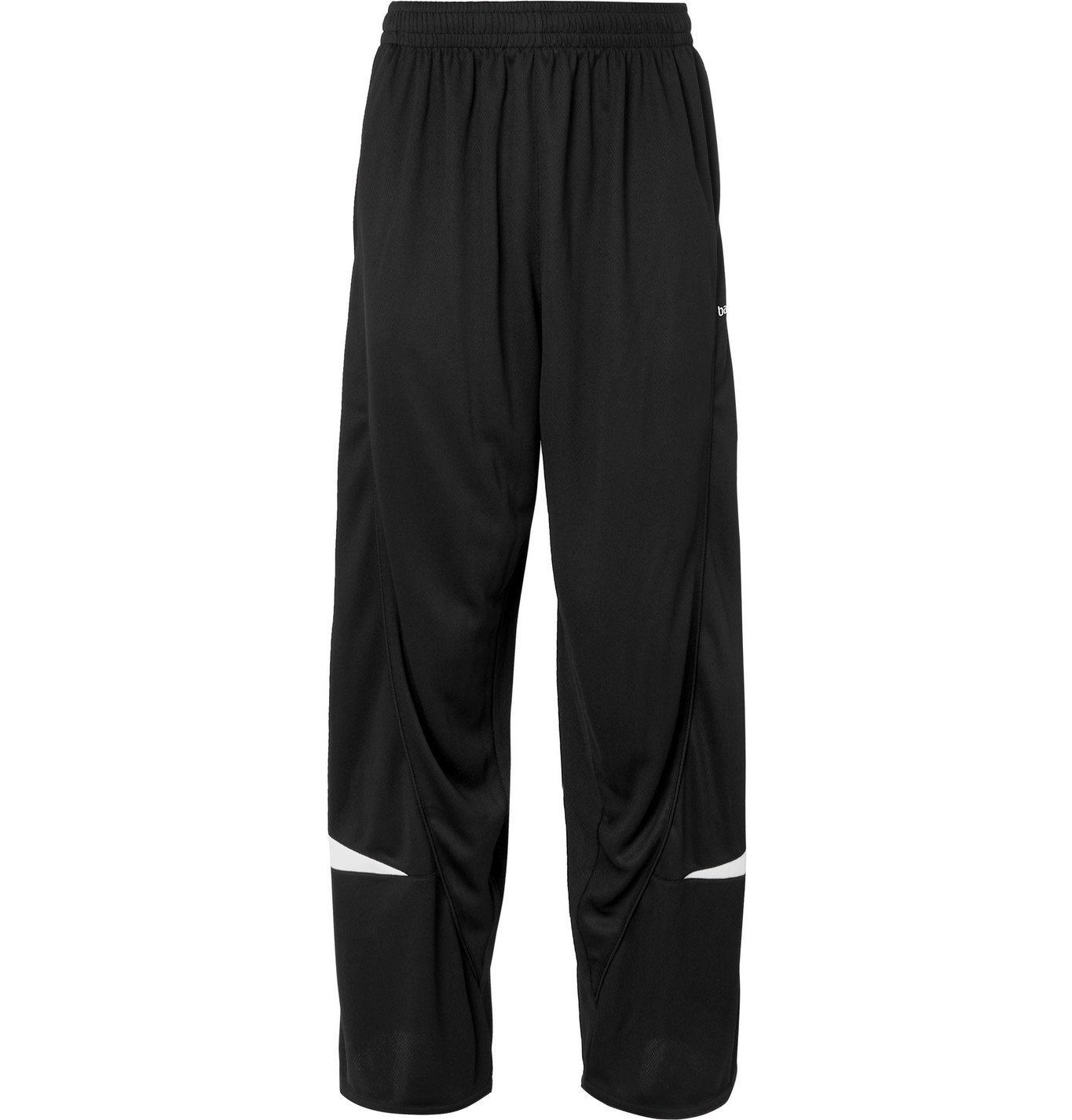 Photo: Balenciaga - Wide-Leg Logo-Detailed Piped Perforated Shell Track Pants - Black
