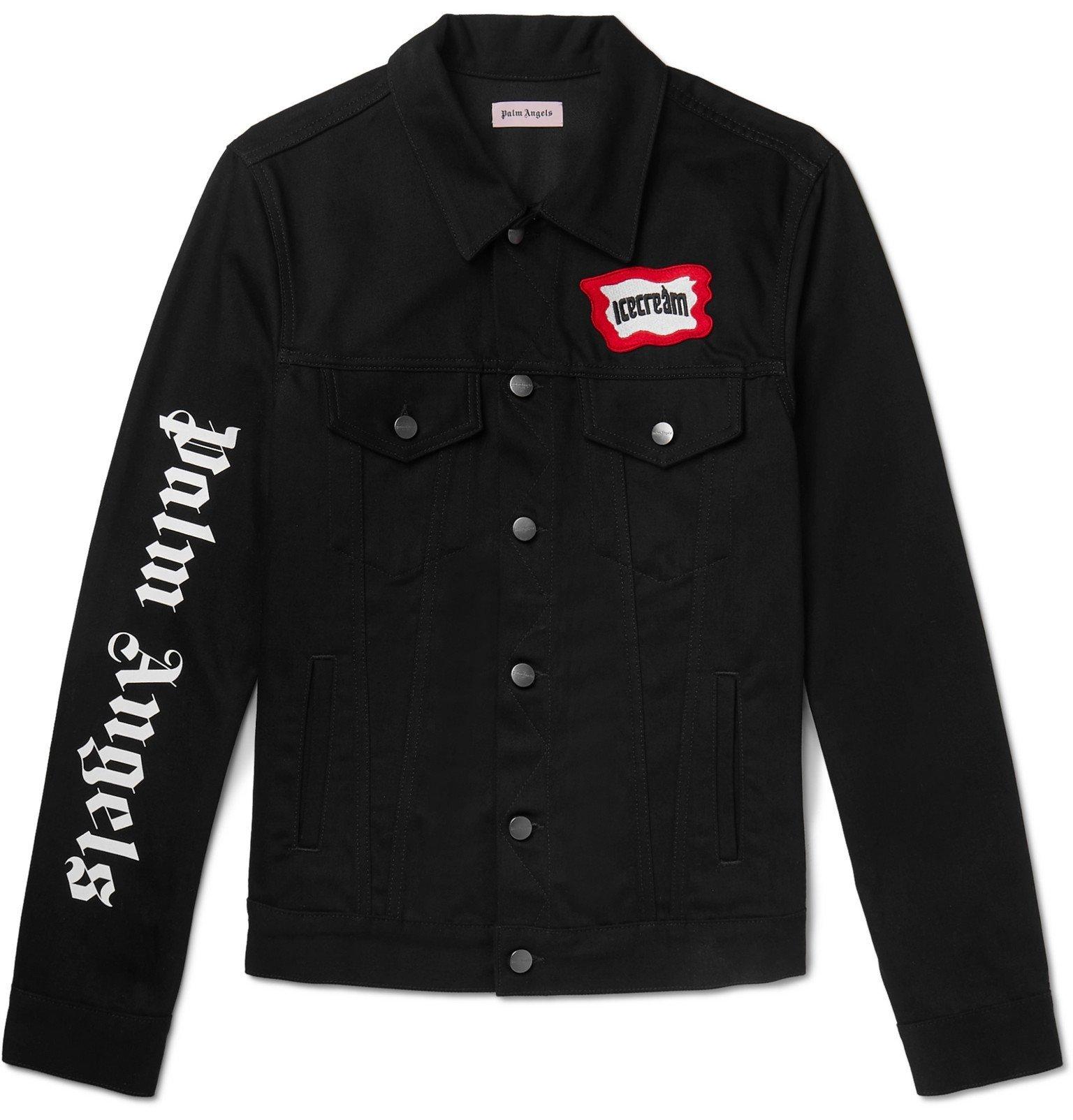 Photo: Palm Angels - ICECREAM Slim-Fit Logo-Appliquéd Printed Denim Jacket - Black