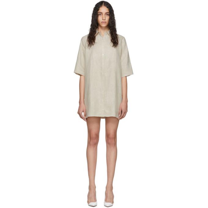 Photo: Georgia Alice Off-White Linen Pierre Shirt Dress