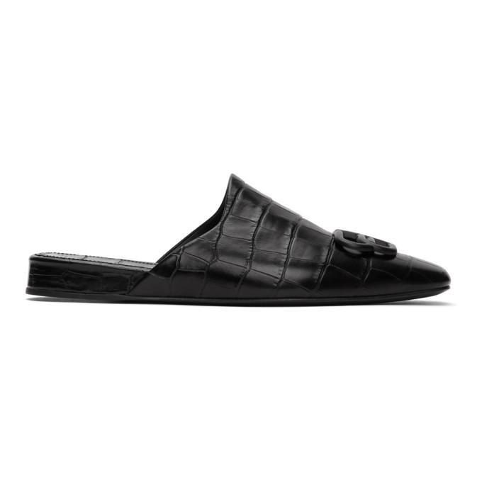 Photo: Balenciaga Black Croc BB Mules