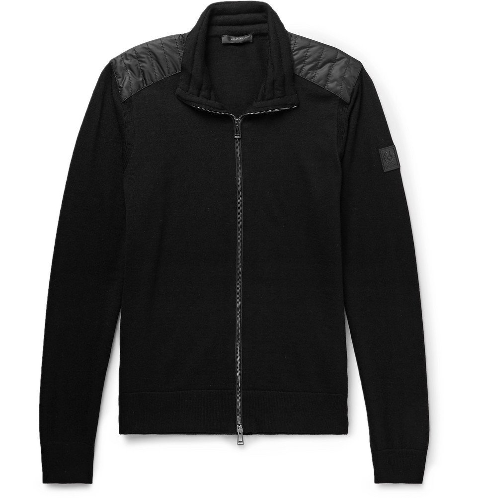Belstaff - Kelby Slim-Fit Quilted Shell-Panelled Virgin Wool Zip-Up Cardigan - Men - Black