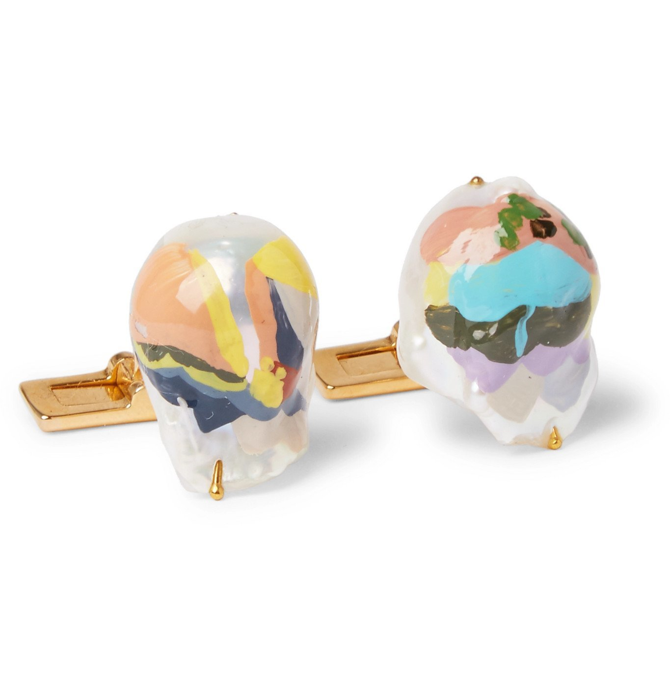 Photo: Bottega Veneta - Painted Mother-of-Pearl Gold-Tone Cufflinks - White