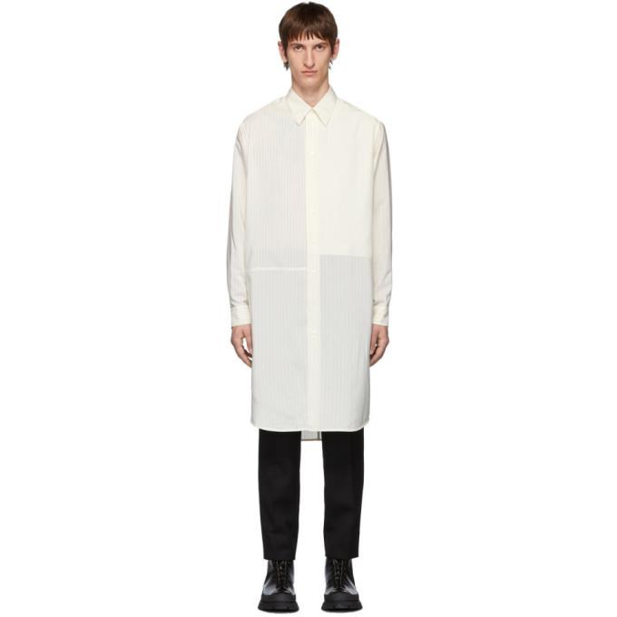 Photo: Jil Sander Off-White Silk Striped Teles Contrast Patch Shirt