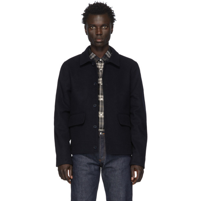 Photo: Officine Generale Navy Wool Bomber Jacket