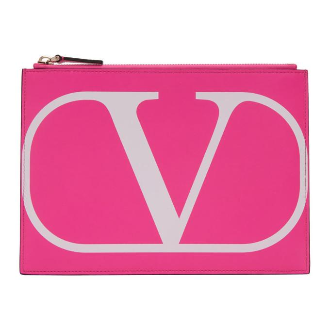 Valentino Pink Valentino Garavani VLogo Medium Pouch