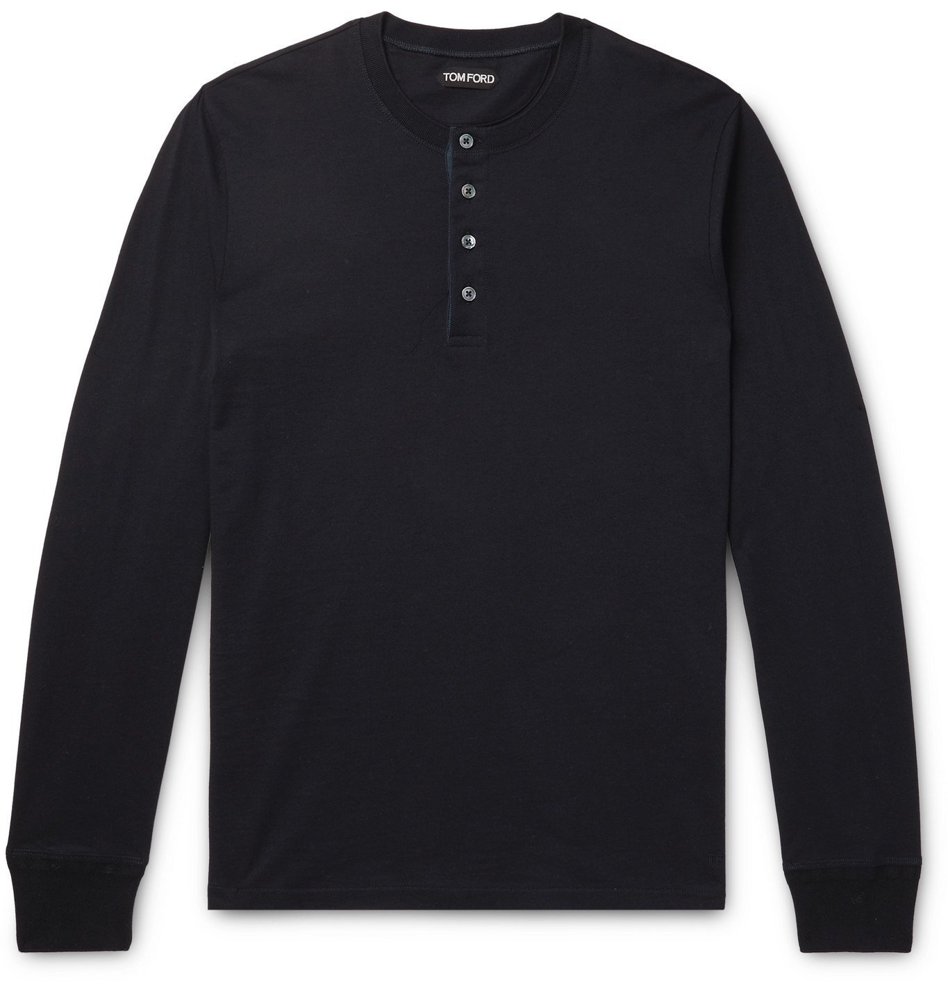 Photo: TOM FORD - Cotton-Jersey Henley T-Shirt - Blue