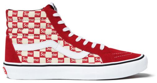 Photo: Vans Sk8-Hi Supreme Red Checker Logo