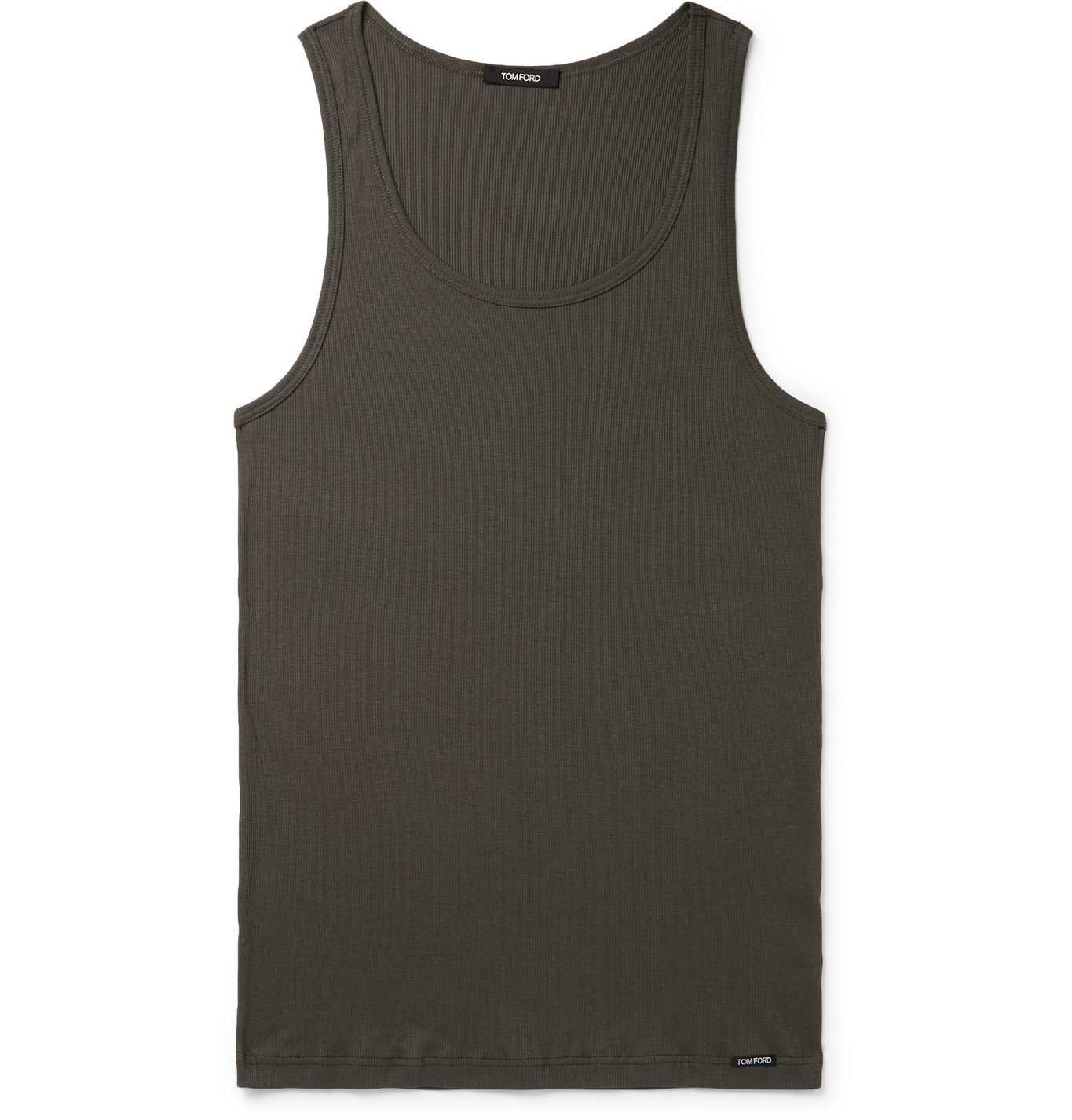 Photo: TOM FORD - Ribbed Cotton and Modal-Blend Jersey Tank Top - Green