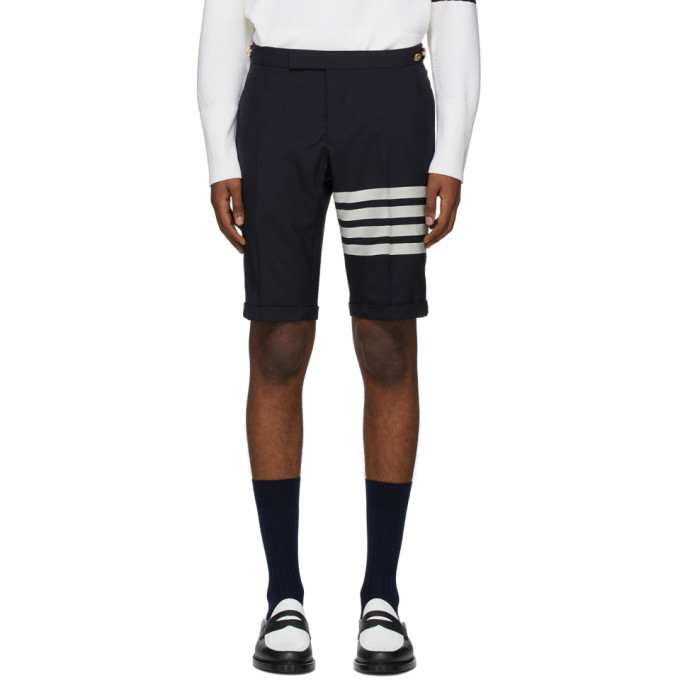 Photo: Thom Browne Navy 4-Bar Wool Shorts