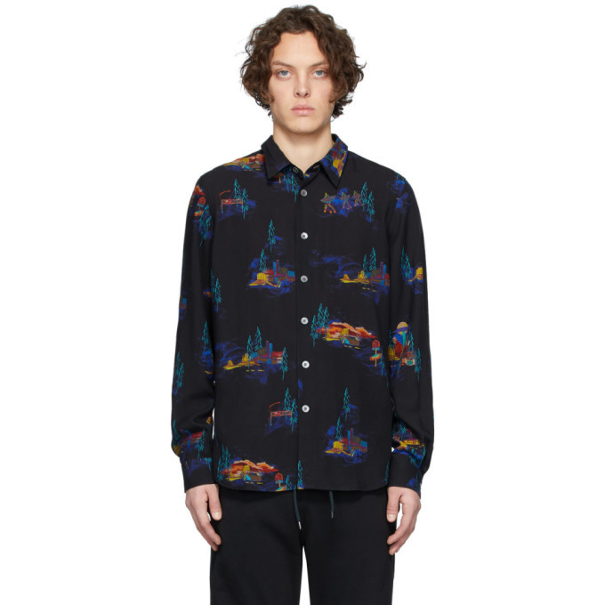 Photo: PS by Paul Smith Black Lyocell Cosmic Camp Long Sleeve Shirt