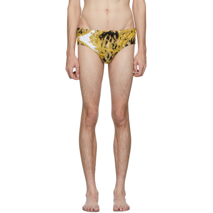 Photo: Versace Underwear White and Gold Animal Swim Briefs