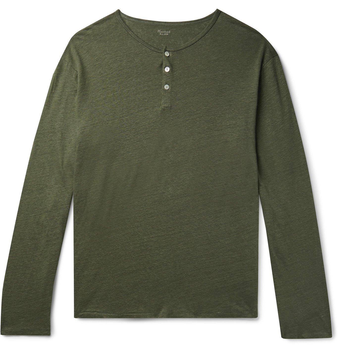 Photo: Hartford - Slub Linen Henley T-Shirt - Green