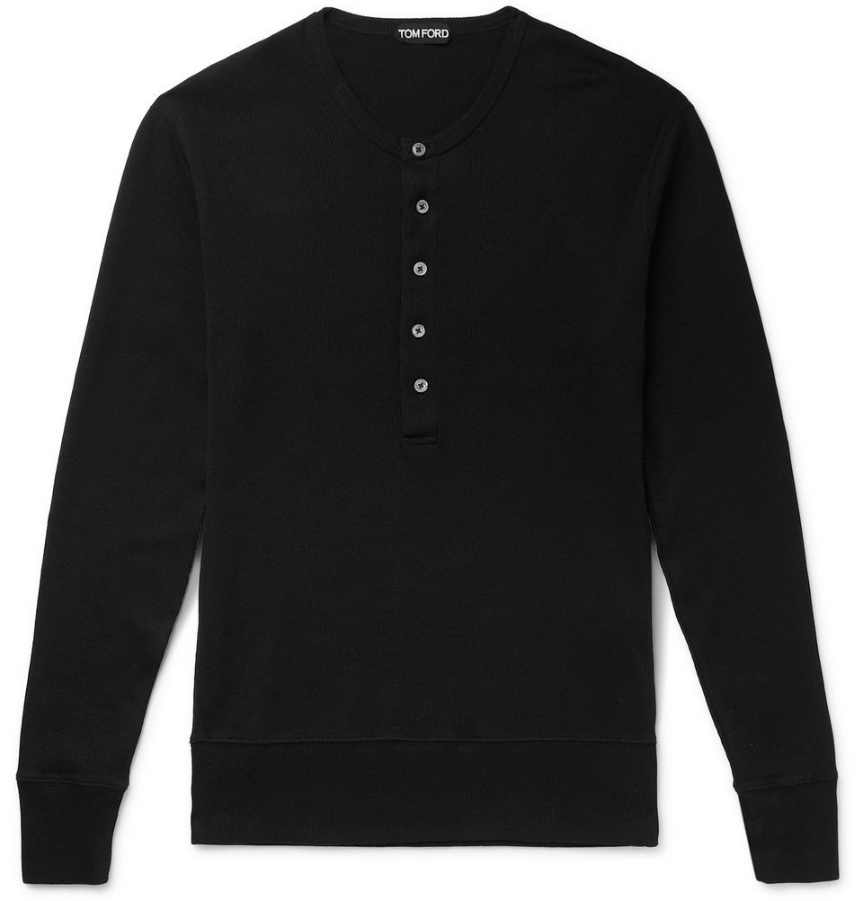 Photo: TOM FORD - Ribbed Cotton-Jersey Henley T-Shirt - Black