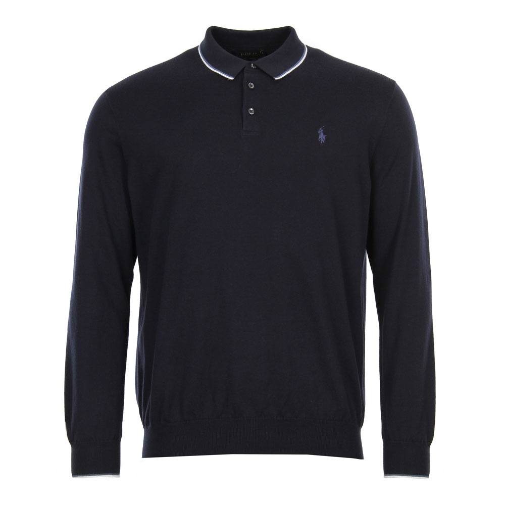 Photo: Knitted Polo Shirt - Navy