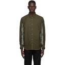 Sacai Khaki Nylon Twill and Cotton Shirt