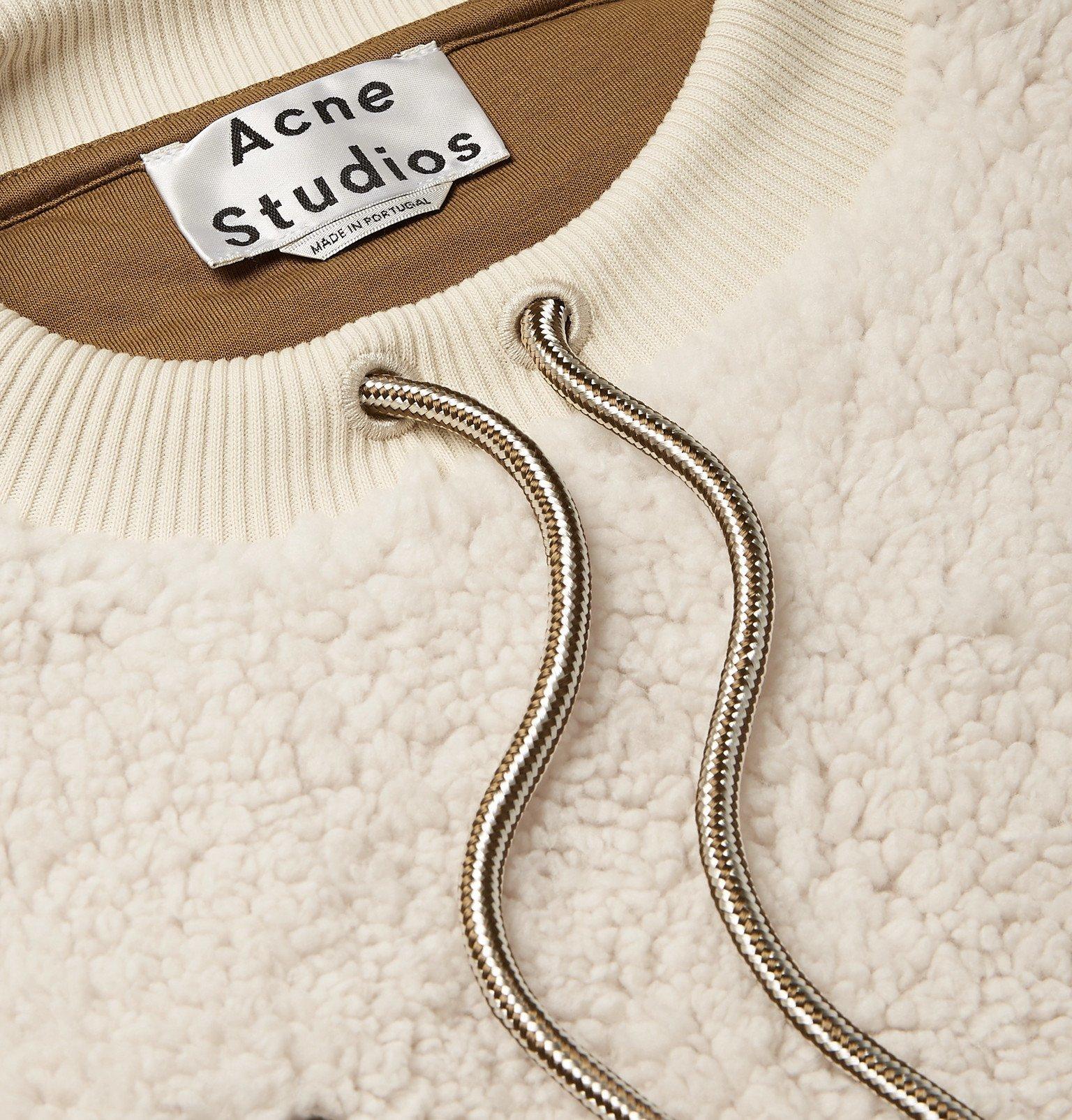 Acne Studios - Fabion Cotton Canvas-Trimmed Fleece Sweatshirt - Neutrals