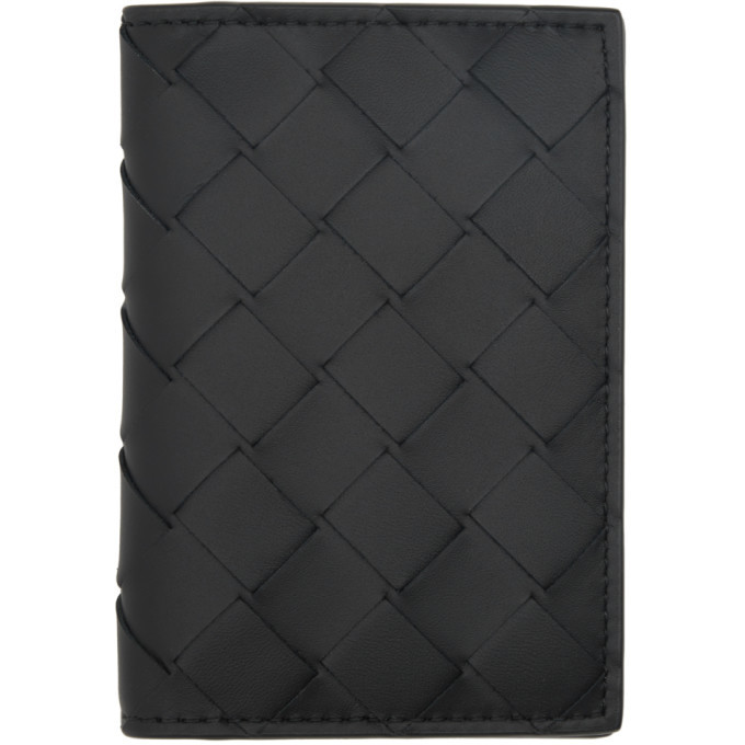 Photo: Bottega Veneta Black Intrecciato Bifold Card Holder