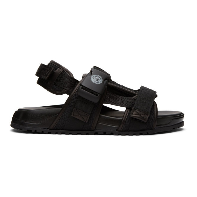 Photo: Versace Black Greca Straps Sandals