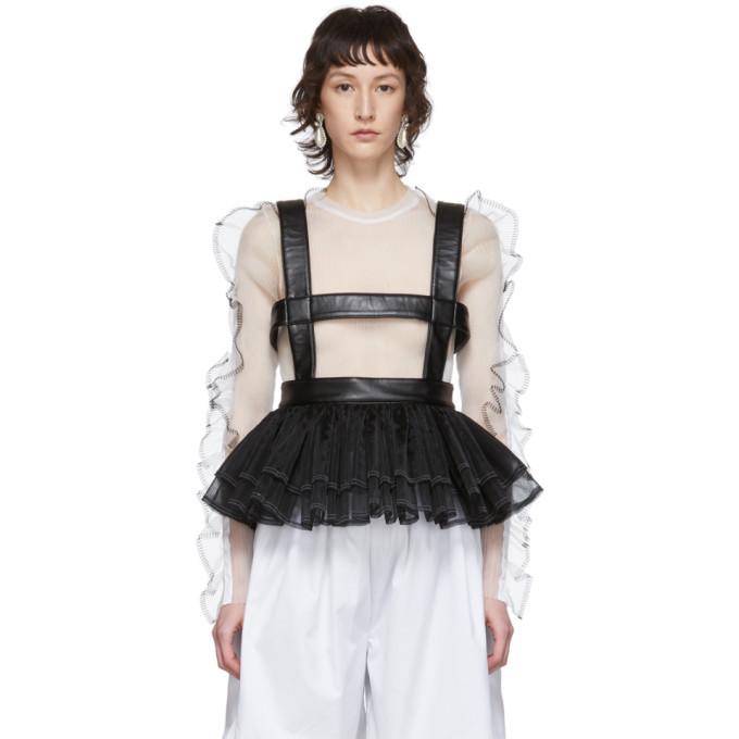 Photo: Noir Kei Ninomiya Black Faux-Leather and Tulle Corset