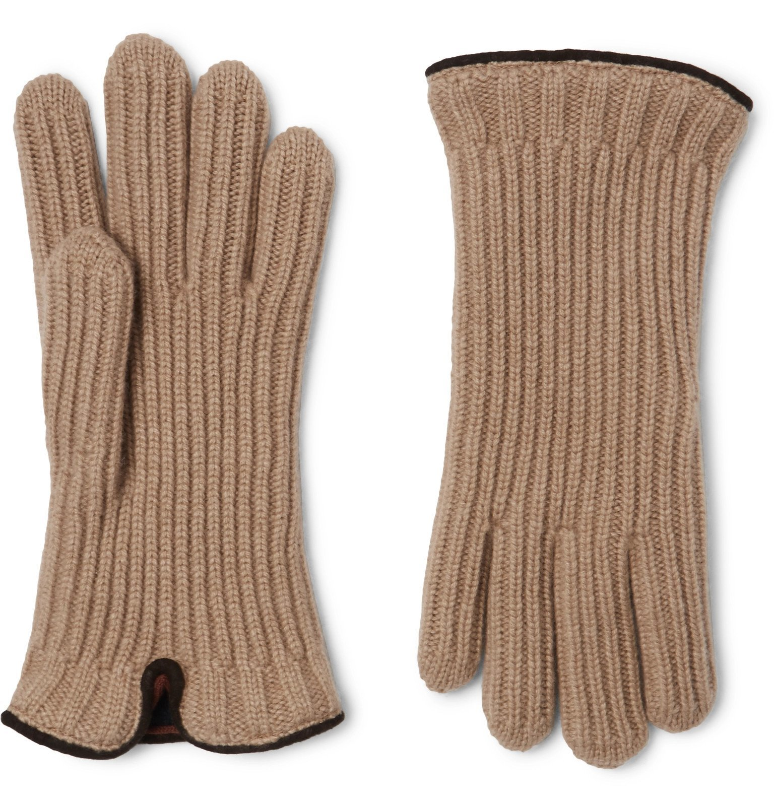 Photo: Loro Piana - Leather-Trimmed Ribbed Cashmere Gloves - Neutrals