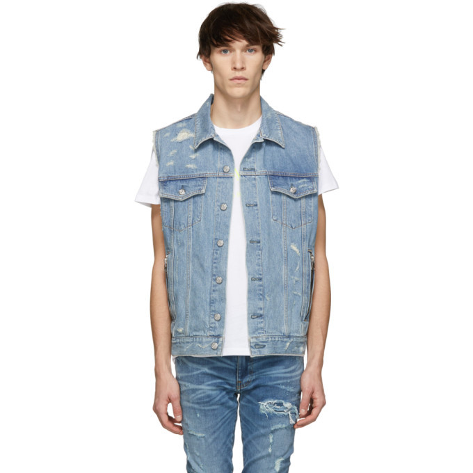 Photo: Balmain Blue Denim Ripped Jacket